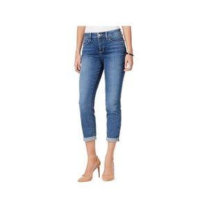 NYDJ medium wash blue denim ankle cuff crop jean 4